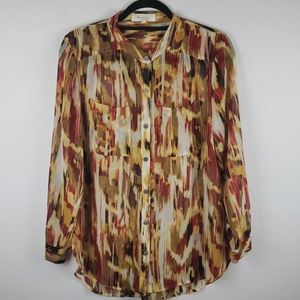 TWO by VINCE CAMUTO Fall Colors Sheer Blouse